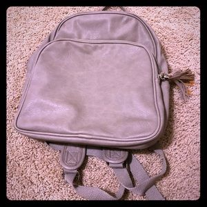 Leather backpack Taupe / Beige